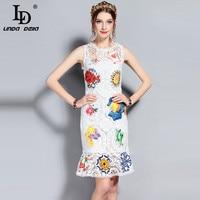 LD LINDA DELLA 2018 New Runway Designer Summer Dress Women S Sleeveless Hollow Out Lace Floral