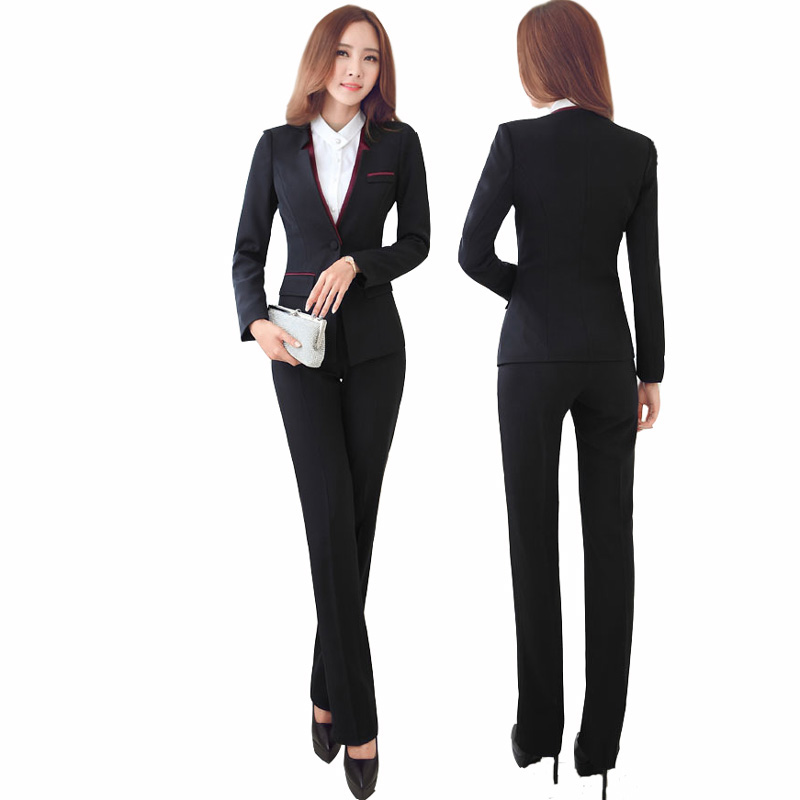 Us 45 51 49 Off Women Business Suits 2019 Fashion S Pants Suit Slim Jackets With Office Las Formal Ol Work Wear Sets In