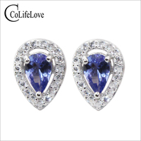 Classic silver tanzanite jewelry 4 mm*6 mm natural pear cut tanzanite stud earrings solid 925 sterling silver tanzanite earrings