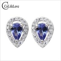 Classic silver tanzanite jewelry 4 mm*6 mm natural pear cut tanzanite stud earrings solid 925 sterling silver tanzanite earrings