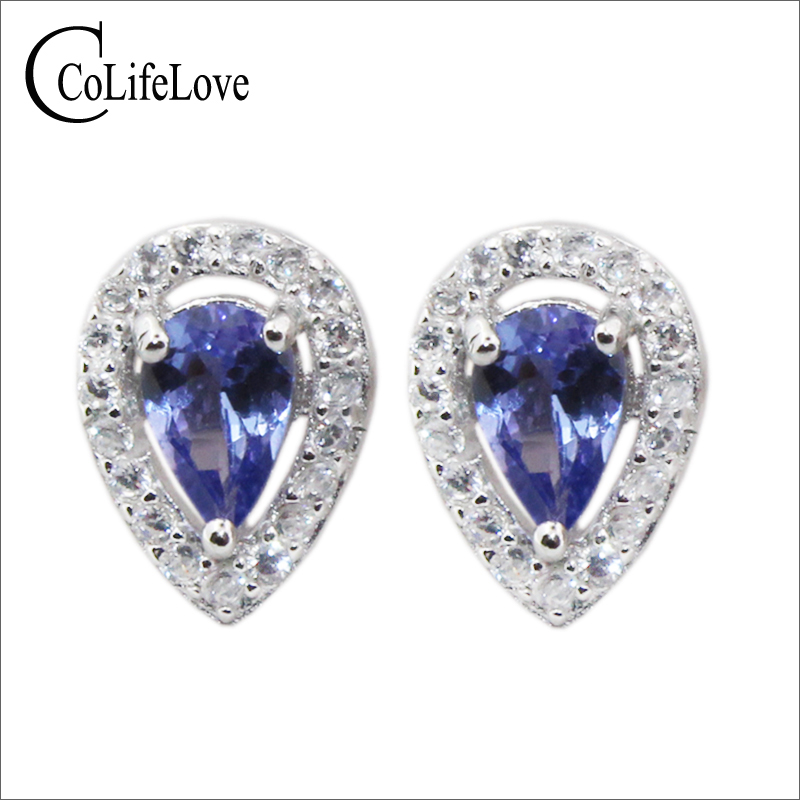Classic silver tanzanite jewelry 4 mm*6 mm natural pear cut tanzanite stud earrings solid 925 sterling silver tanzanite earringsClassic silver tanzanite jewelry 4 mm*6 mm natural pear cut tanzanite stud earrings solid 925 sterling silver tanzanite earrings