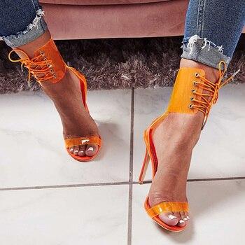 2019 nouvelles femmes pompes Transparent talons hauts d'été femmes sandales croix sangle femmes talons Sexy Stiletto femmes chaussures grande taille 43