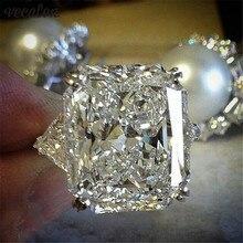 Vecalon массивное кольцо 925 пробы Серебряная Подушка огранка 8ct AAAAA Cz обручальное кольцо кольца для женщин вечерние ювелирные изделия на палец