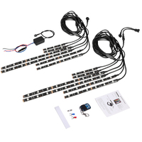 New 12Pcs RGB Wireless Remote LED Car Motorcycle Light strip Atmosphere Lamp #40