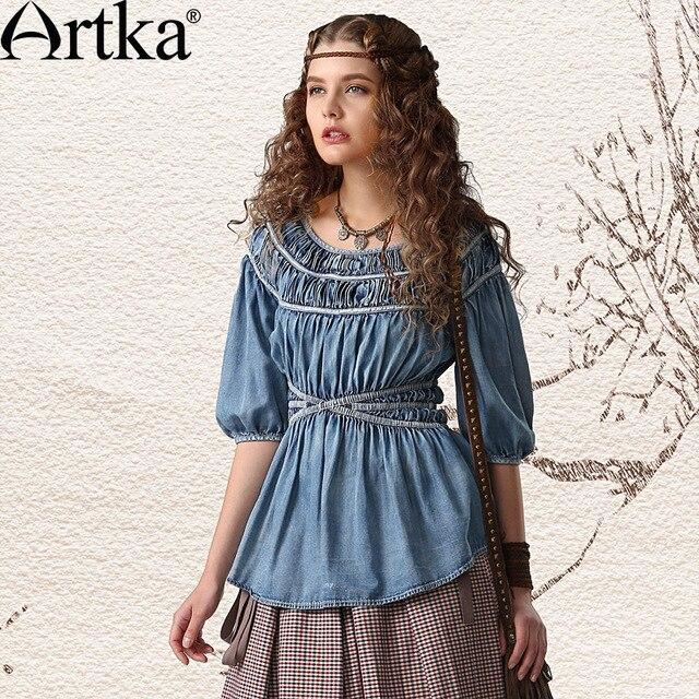 Artka Women'S Autumn Vintage Ruffling O-Neck Half Lantern Sleeve Slim Waist Water Wash All Match Denim Shirt  SN10146C