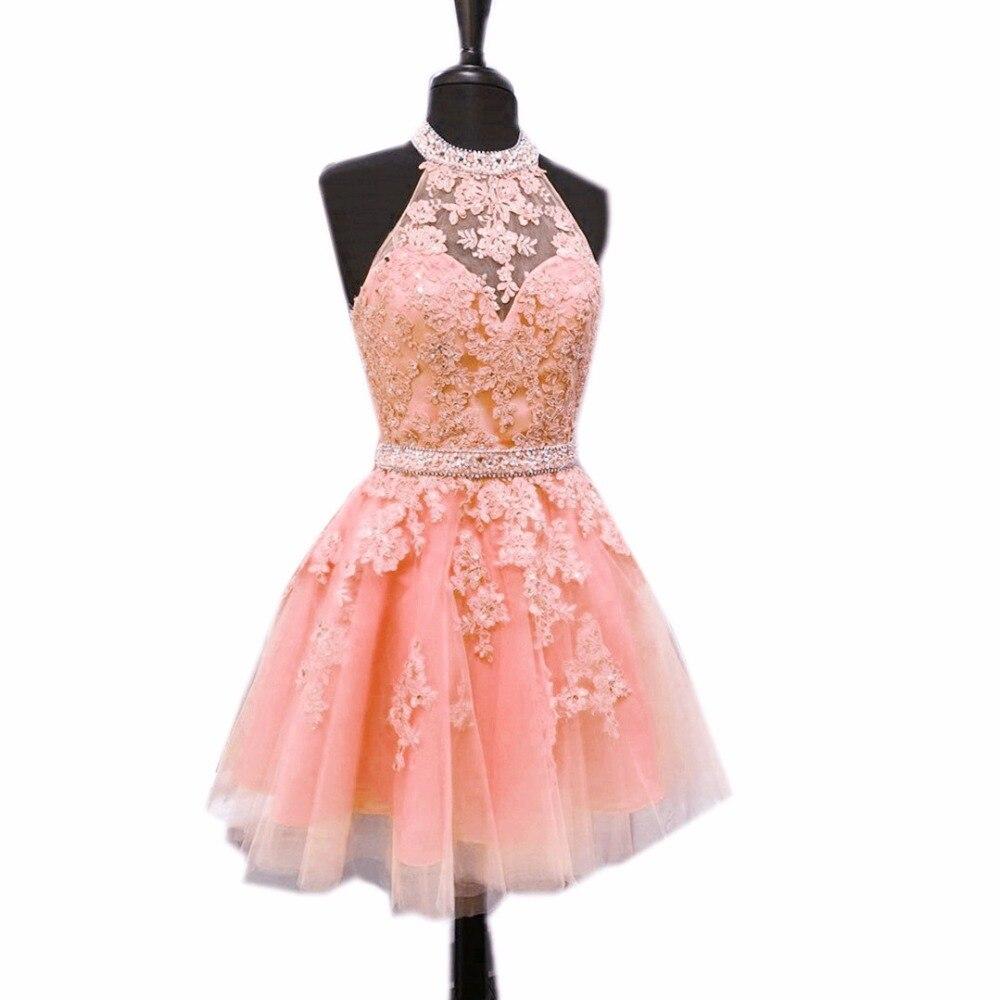 Rebordear Cabestro Tul Corto Semi Vestidos Formales 2017 Vestidos de ...