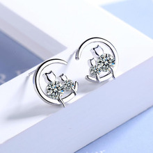 KOFSAC 2019 Sterling Silver 925 Stud Earrings For Women Jewelry Cute Cat Mother Kitten Zircon  Earring Girl Party Accessories
