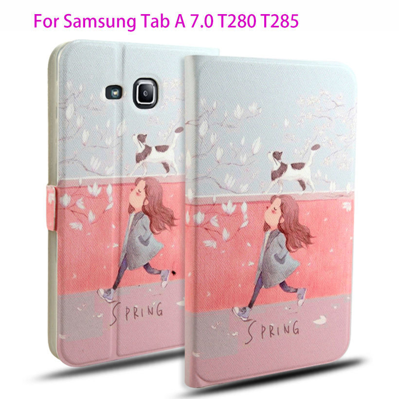 Fashion Leather Case For Samsung Galaxy Tab A a6 7.0 T280 T285 SM-T280 Cases Cover Tablet Children's cartoon pattern Stand Funda 2016 new arrival leather case for samsung galaxy tab a a6 7 0 t280 t285 sm t280 cases cover tablet funda hand holder business