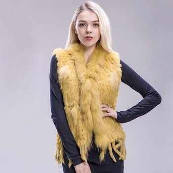 ZDFURS* 2018 new colors Women Genuine real Rabbit Fur Vest coat tassels Raccoon Fur collar Waistcoat wholesale drop shipping - DISCOUNT ITEM  50% OFF All Category