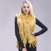 ZDFURS* 2018 new colors Women Genuine real Rabbit Fur Vest coat tassels Raccoon Fur collar Waistcoat wholesale drop shipping