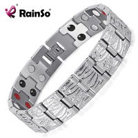 Rainso Fashion Mens Stainless Steel Bracelet Silver Double Row 4 Elements Health Magnetic Bio Bracelet For