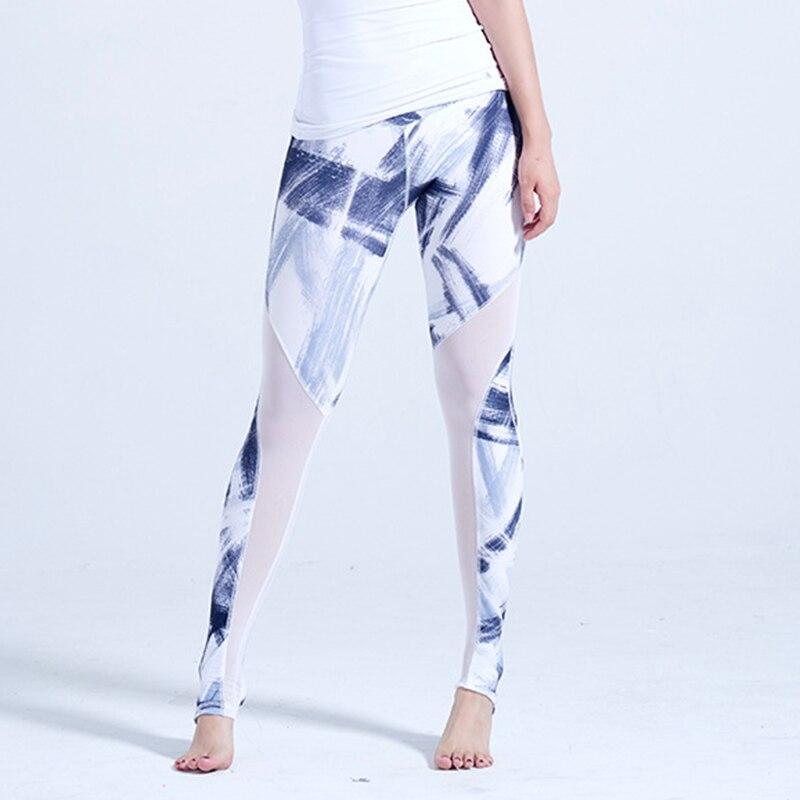 Women Print Yoga Leggings Mesh Patchwork Compression Tights Stirrup Yoga Pants Fitness Anti-sweat Quick Dry Sport Dance Trouser