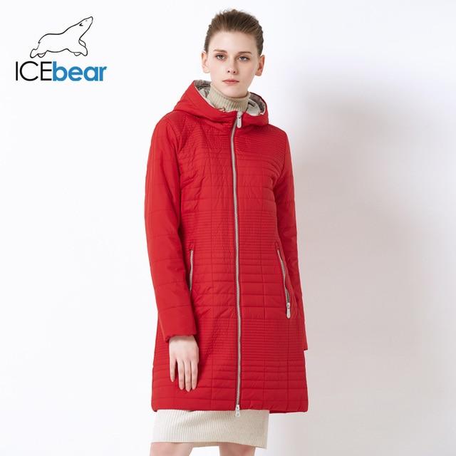 331c996f1ec ICEbear 2019 Весна Длинные для женщин пальто с капюшоном модные мягкие  брендовые весенняя куртка парка 17G292D