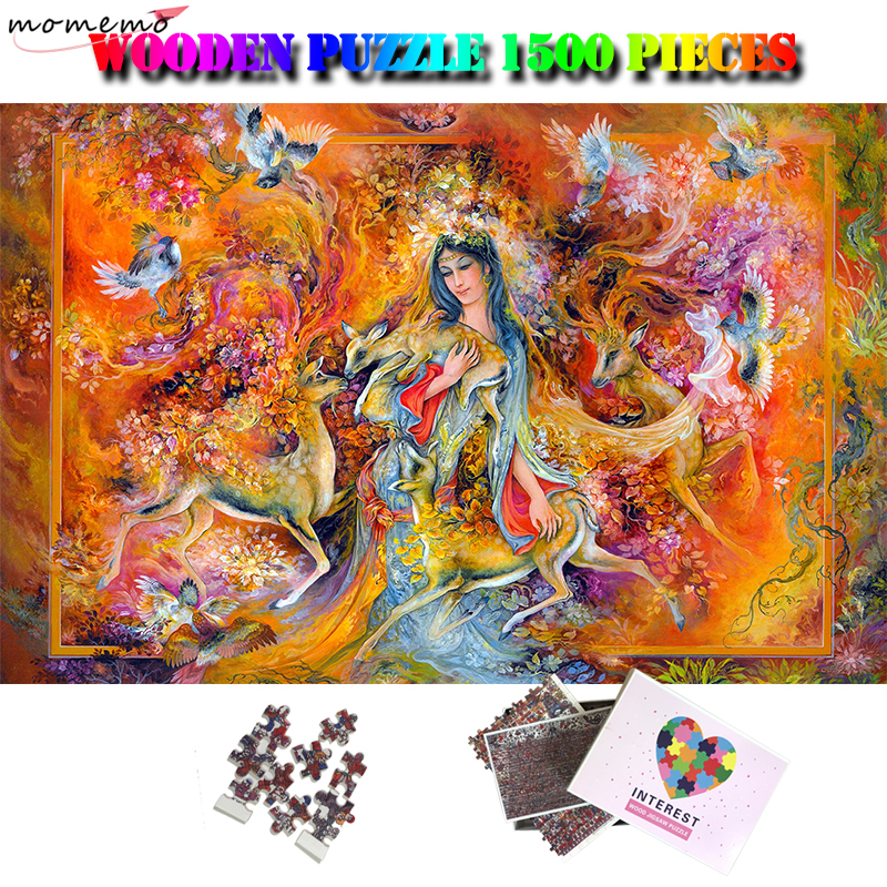 MOMEMO Goddess of Spring 1500 Pieces Wooden Jigsaw Puzzle Difficult Puzzle Toys for Adults Kids Teens 1500 Piece Puzzles GiftsMOMEMO Goddess of Spring 1500 Pieces Wooden Jigsaw Puzzle Difficult Puzzle Toys for Adults Kids Teens 1500 Piece Puzzles Gifts