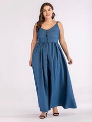 Europa lato duży rozmiar Sundress Denim Sukienka kobiety Sling duże wahadło Sukienka dla tłuszczu kobiet Casual długi Vestido Sukienka 3