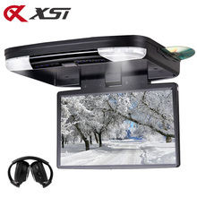 XST 15.6 Inch Car Ceiling DVD Flip Down Car Roof DVD Monitor DVD with Built in IR FM Transmitter HDMI Port USB SD MP5 Player