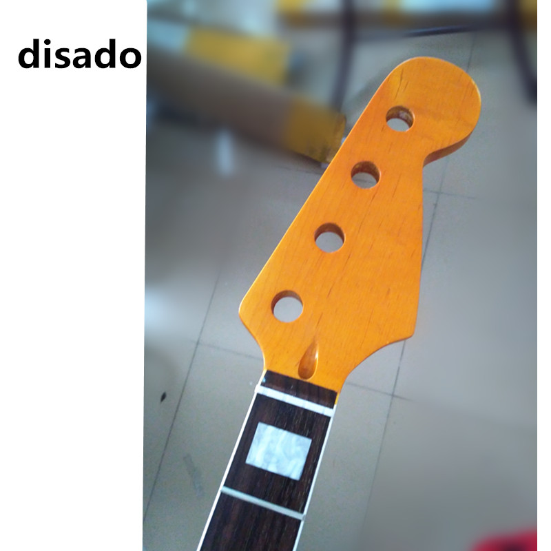 disado 20 frets maple electric bass guitar neck with rosewood fingerboard yellow color glossy paint customize guitar parts disado 20 frets maple electric bass guitar neck rosewwood fingerboard glossy paint customized guitar accessories parts