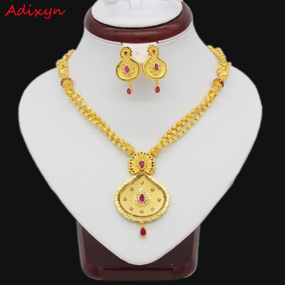 Adixyn nouveau collier/boucle d'oreille/pendentif ensemble de bijoux femmes couleur or cristal bijoux africain/éthiopien/dubaï cadeaux de mariage/fête