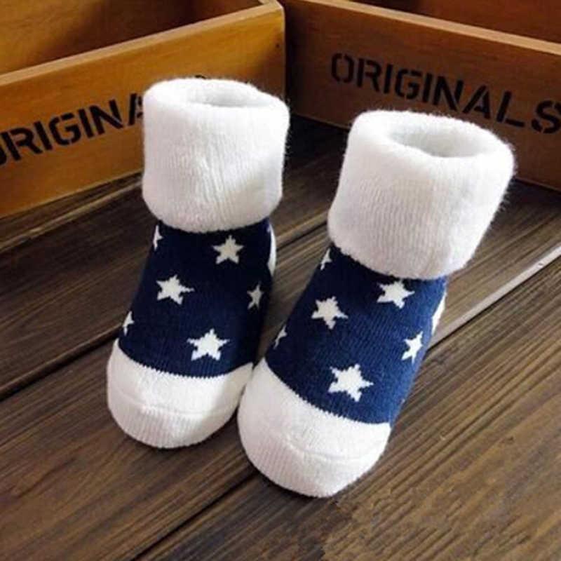 1 пара, теплые Зимние носки для детей милые мягкие осенне-зимние Носки для новорожденных мальчиков и девочек в полоску, в горошек, цвета на выбор, для детей для малышей, обувь для новорожденного мальчика носки детский комплект