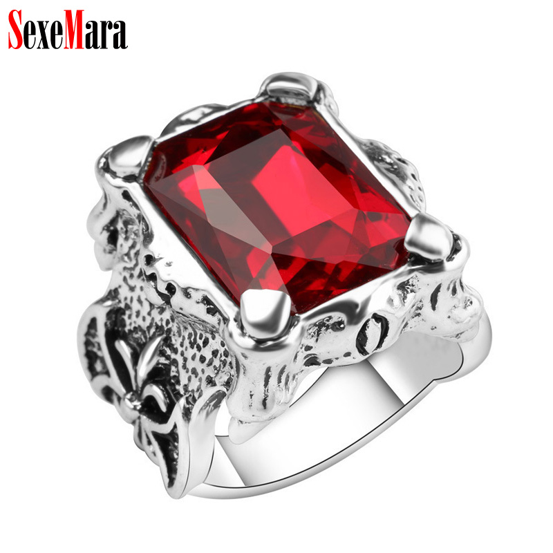 SexeMara Big Square Glass Ring Men Women Luxury Alloy Plated Antique Silver Retro Finger ...