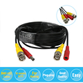 Los 32ft 10 m bnc power video cable siamés hiseeu para cvi analog ahd cctv cámara de vigilancia dvr kit envío gratis