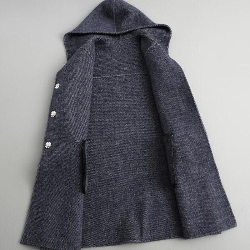 D'hiver Manteau Laine La Capuchon Face Outwear Color 2018 Double Moyen Veste Photo Femmes long Plus Mode Casaco À Lâche En Taille Vestes XwF5p