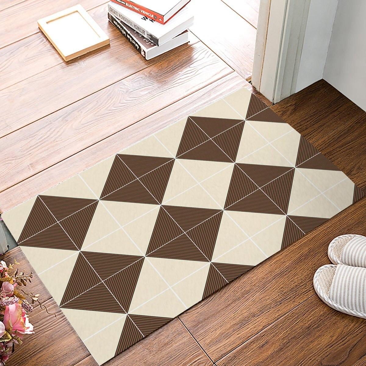 Brown Geometric Decorative Print Door Mats Kitchen Floor