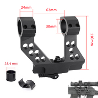 Hunting Quick Detach AK Side Rail Scope Mount with Integral 1 Inch 25mm/30mm Ring For AK47 Black