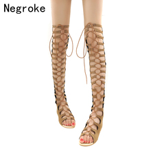 где купить Brand High Quality Women Sandals Leather Strappy Knee High Summer Gladiator Flat Sandals Lace Up Strap Casual Summer Boots 35-46 дешево