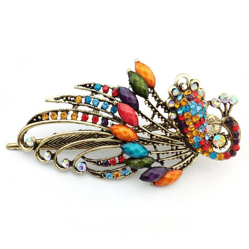Hot Sale Vintage Girl Hairpins Rhinestones Bohemian Style Peacock Hair Clip For Women