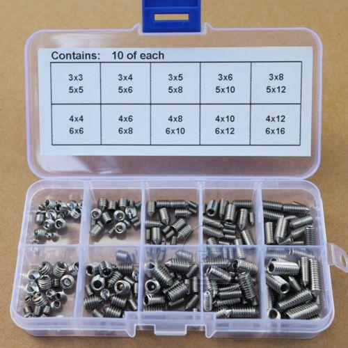 M 200Pcs M3 M4 M5 M6 Set Cone Point Allen Head Hex Socket Screws Assortment Kit