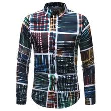 2019 Autumn Floral Print Men Geometric Shirt Long Sleeve Casual Black Retro Printed Slim Dress Shirts