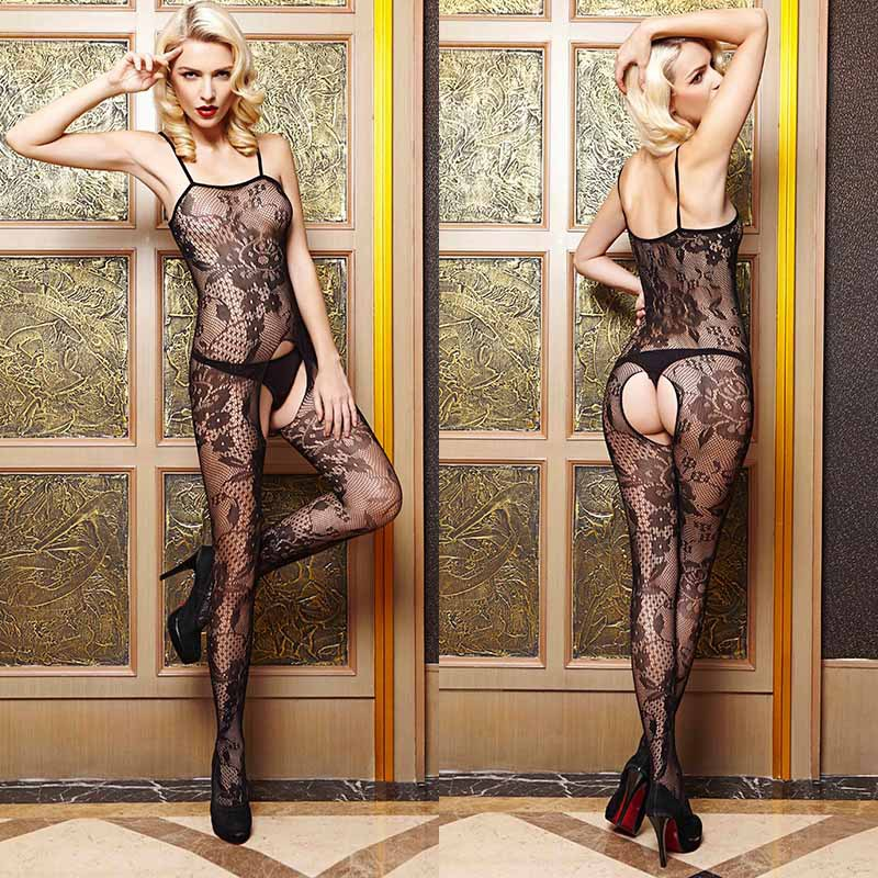 Crotchless Floral Fishnet Bodystocking Erotic Lingerie -2300