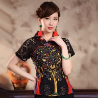 Sexy Black Lace Summer Women Shirt Top Chinese Style Cotton Linen Blouse Tradition Flower Clothing S