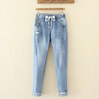 Plus Size Embroidered Light Blue Women Jeans Pencil Pants 2018 Casual Summer High Waist Ripped Cuffs