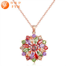 FYM High Quality Flower Statement Cubic Zirconia Necklaces & Pendants Necklace Women Collares Ethnic Jewelry For Party fym high quality big white crystal silver color cubic zirconia necklace