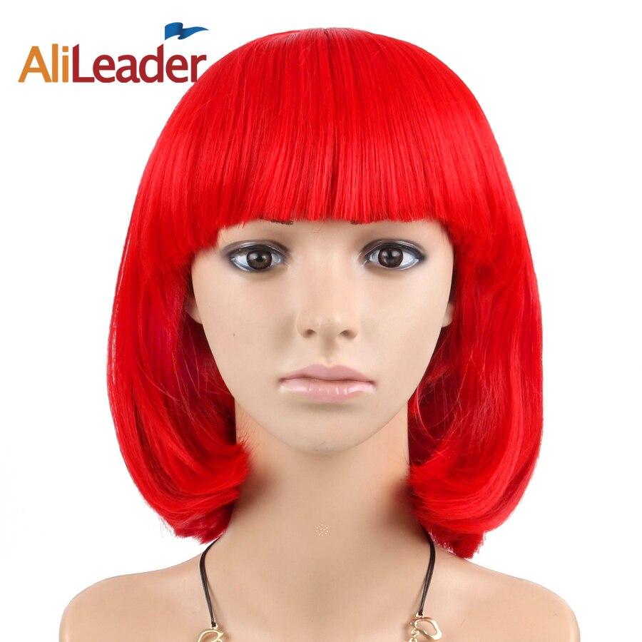 Alileader Cosplay Parrucche Per Le Donne Giallo Rosso Arancione Biondi Corti Bob Parrucche Con La Frangetta Per Il Festival Costume di Halloween Parrucche Dritto
