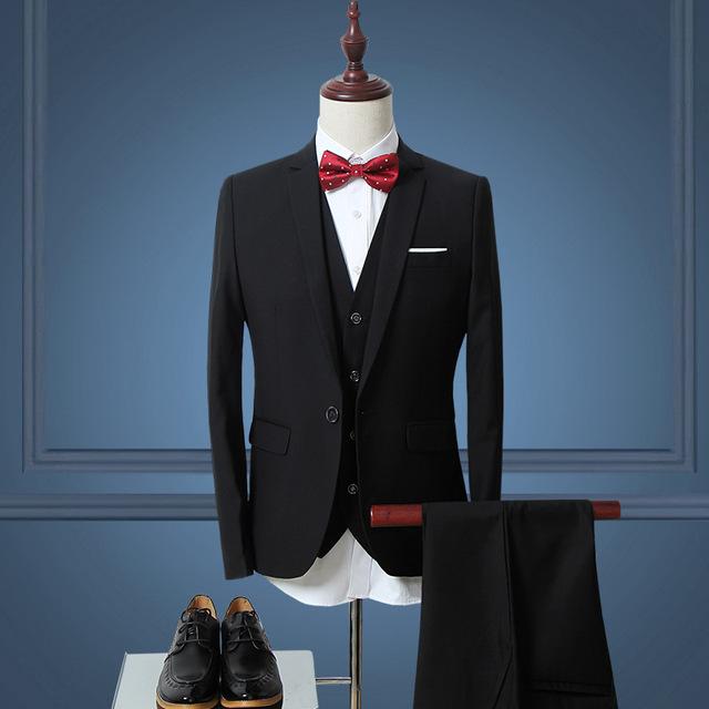 (Jacket+Vest+Pants)Men Slim Fit Suits Plus Size M- 6XL Mens White Wedding Suits With Pants Business Mens Formal Wear