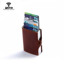 BISI GORO 2018 vintage genuine leather card holder rfid wallet aluminum unisex crazy horse leather 2 metal credit card holder