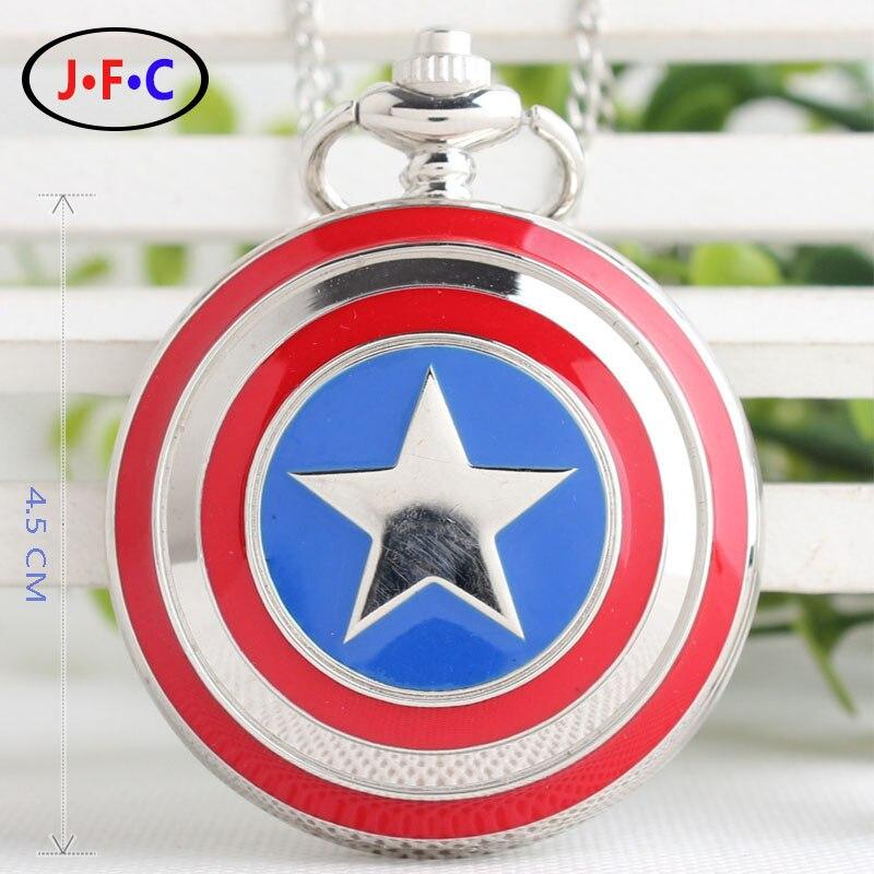 Капитан Америка Значок Ожерелье Цепи Кварцевые Карманные Часы Мужчины Женщины Бесплатная доставка DS036