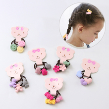 Hot 3PCS/Bag Elastic Korean Cute Flowers Bears New hair rope for Kids girls Ponytail Holder