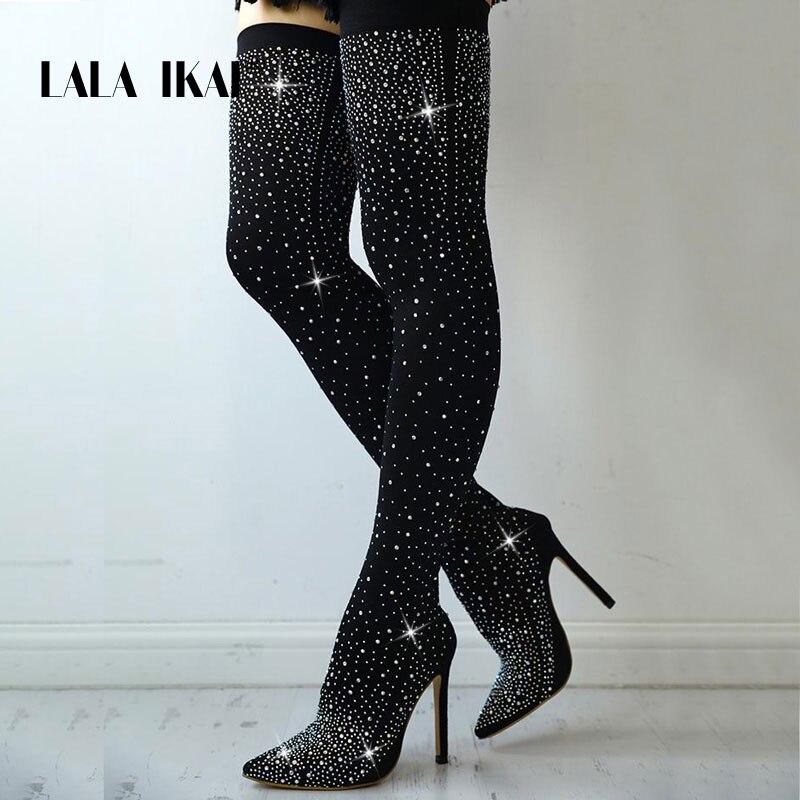 US $37.59 40% OFF|LALA IKAI Frauen Schwarz Knie Kristall Lycra Stretch Stiefel High Heels Spitz Nacht Club Slip Auf Overknees Stiefel 014C1872 4 in