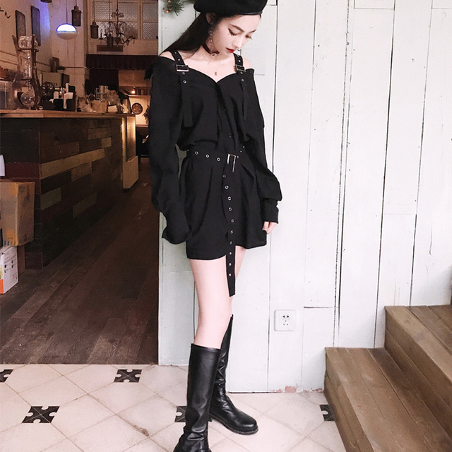 Black Punk Style Mini Sexy Dress Strap Off Shoulder Summer Shirt Dress With Belt Elegant Female Vintage Club Wear Party Dresses by Rcpatern