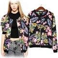 Европа и америка стиль падение цветы и растение черный женщины в свободного покроя весна молния куртка пальто