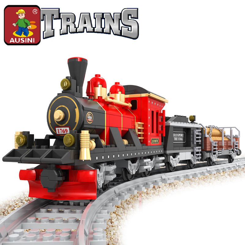 AUSINI 2018 Nieuwe 410 stks Stoomtrein Bouwstenen Retro trein Kids Educatief Model Bricks Speelgoed brinquedos diy speelgoed 25705