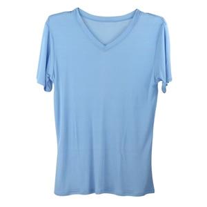 Image 5 - SuyaDream Männer grundlegende t shirt Natürliche Seide v ausschnitt Solide Kurzarm Shirts Weiß Schwarz Grau 2020 Frühling Sommer Top