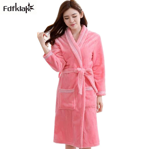0ec465369f Winter dressing gowns for women thickening warm flannel robes fleece long  bathrobe female sleepwear home clothes robe femme