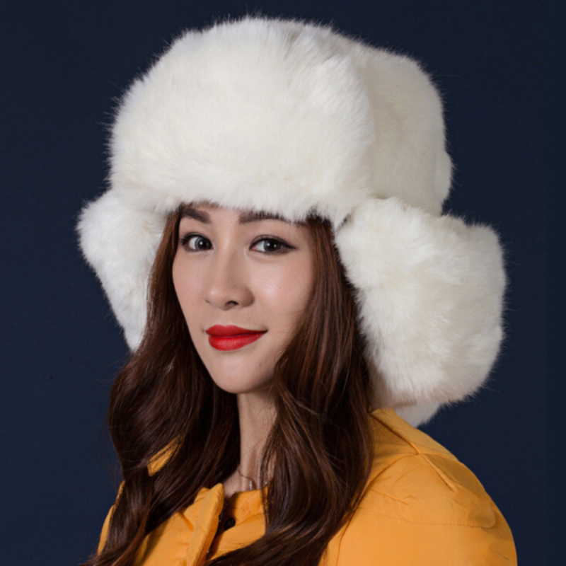 5e2182c822d MZ248 Women Winter Hat Solid Black Grey White Ladies Bomber Hats Caps Warm  Russian Ushanka Hats Rabbit Fur Hats for Women-in Bomber Hats from Apparel  ...