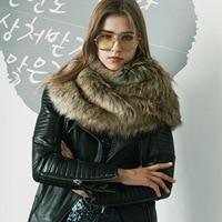 P0091 Europe and United States Women Faux Fur Collar Super Imitation Fox Raccoon Fur Scarf Plush Shawl