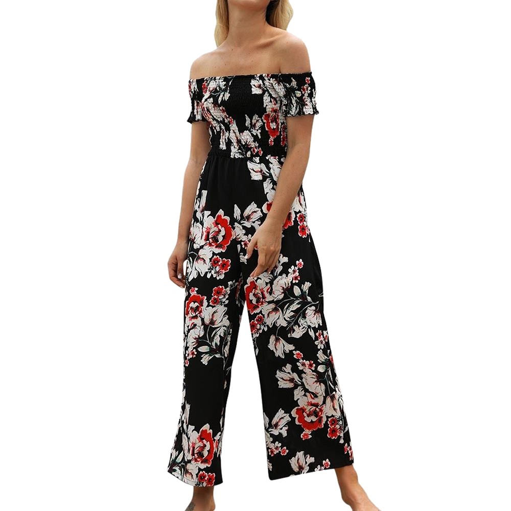 Free Shipping Women Girls Sexy Strapless Floral Print   Jumpsuit   Fit Flare Pants   Jumpsuits   80608 Drop Shipping